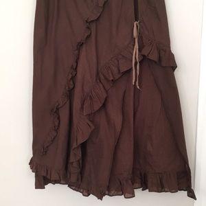 Free People boho ruffles layered long maxi skirt 2